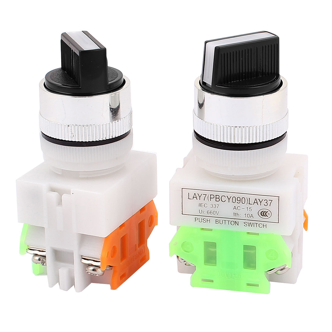 AC 660V 10A NO/NC DPST 2 Position Latching Selector Rotary Switch 2PCS