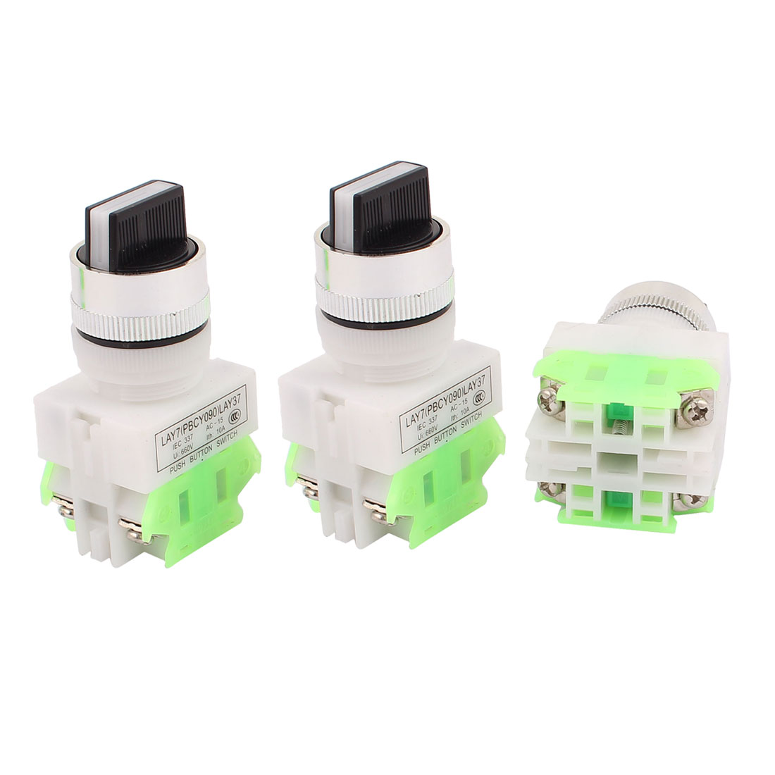 AC 660V 10A NO/NC/NO DPST 3 Position Latching Selector Rotary Switch 3PCS