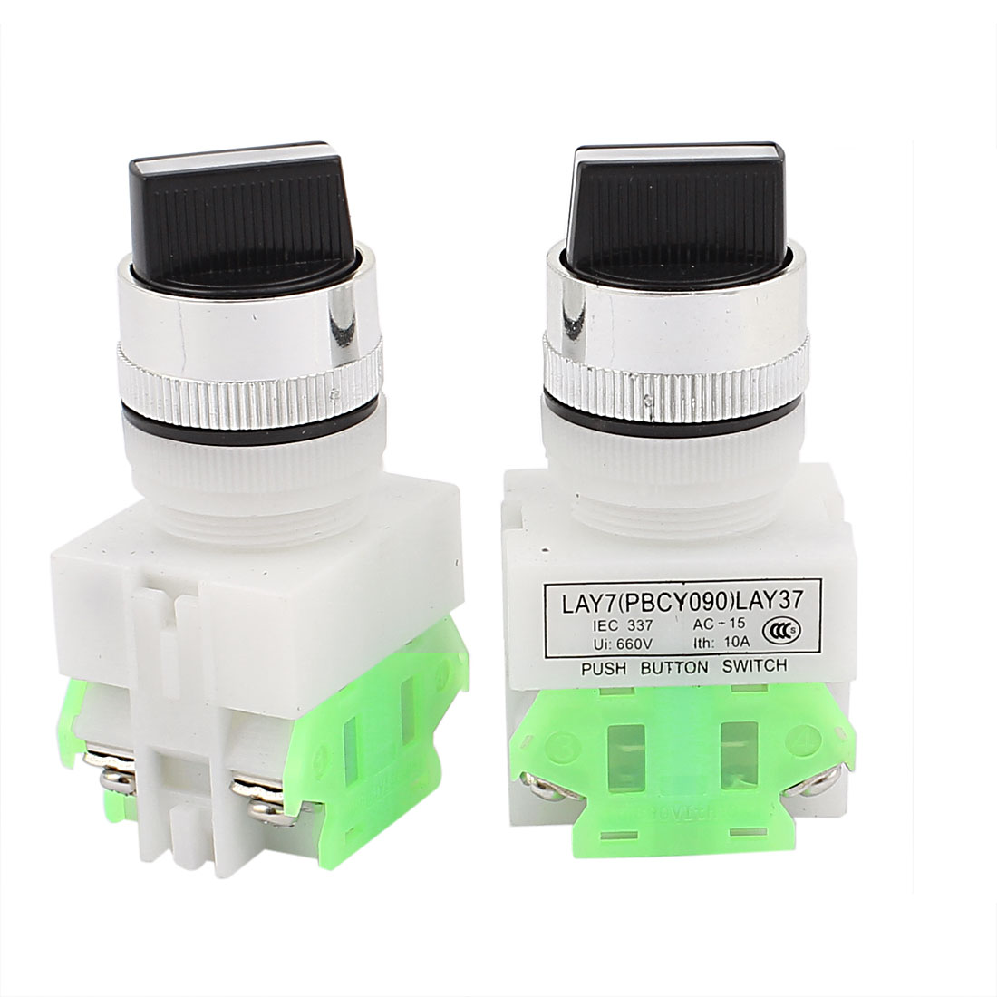 AC 660V 10A NO/NC/NO DPST 3 Position Latching Selector Rotary Switch 2PCS
