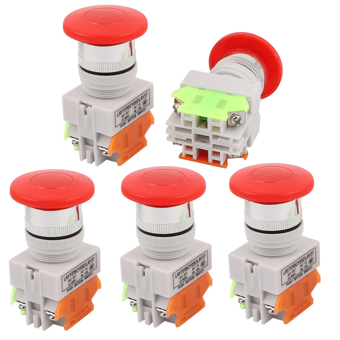 5PCS AC 600V 10A Momentary Emergency Stop Red Mushroom Push Switch