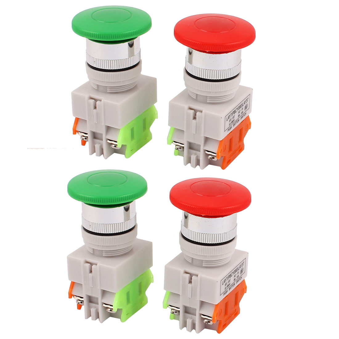 4PCS AC 600V 10A Emergency Stop Green Red Cap Mushroom Push Switch