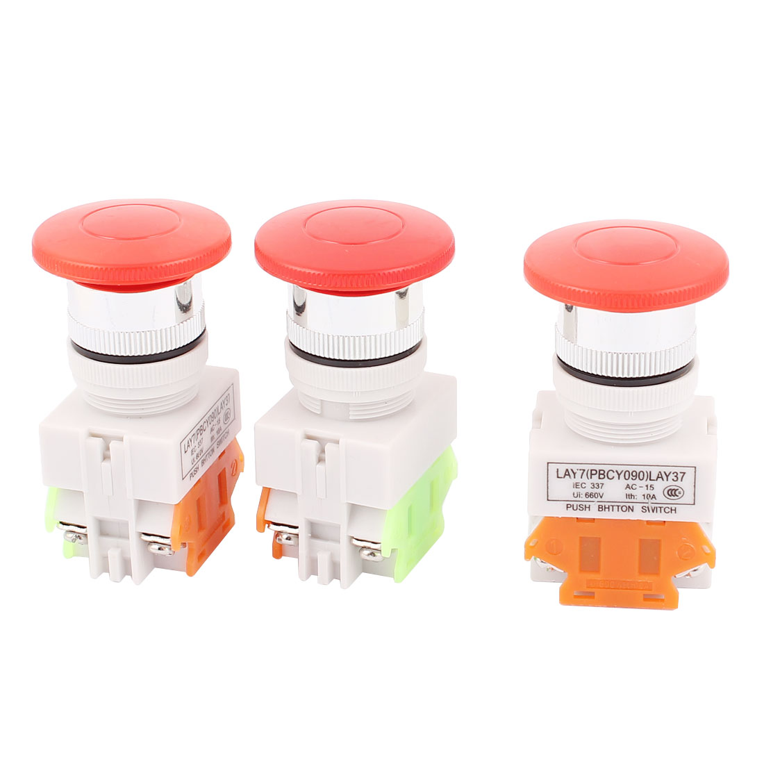3pcs NO/NC 4 Screw Terminals Mushroom Emergency Stop Push Button Switch