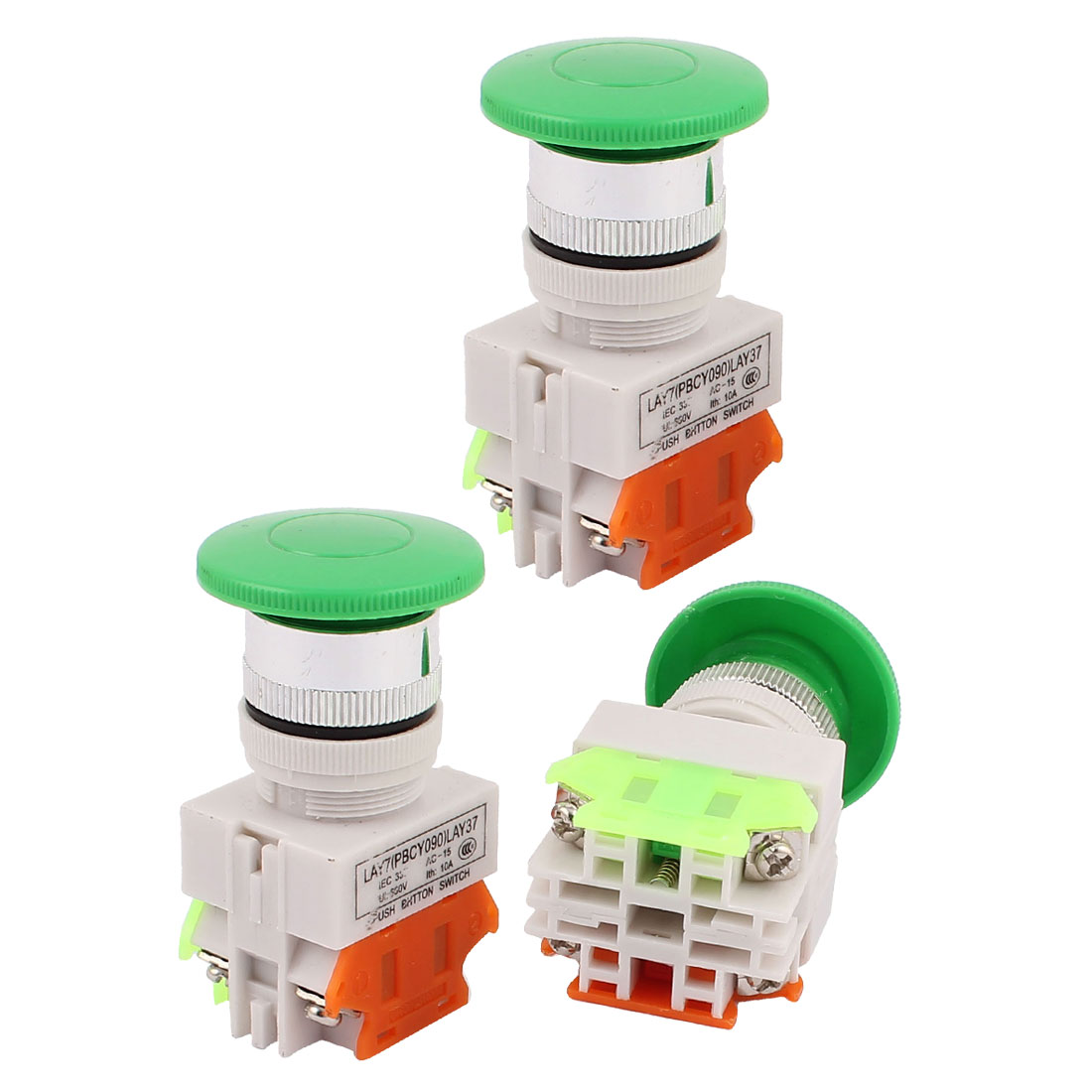 3PCS AC 600V 10A Momentary Emergency Stop Green Mushroom Push Switch