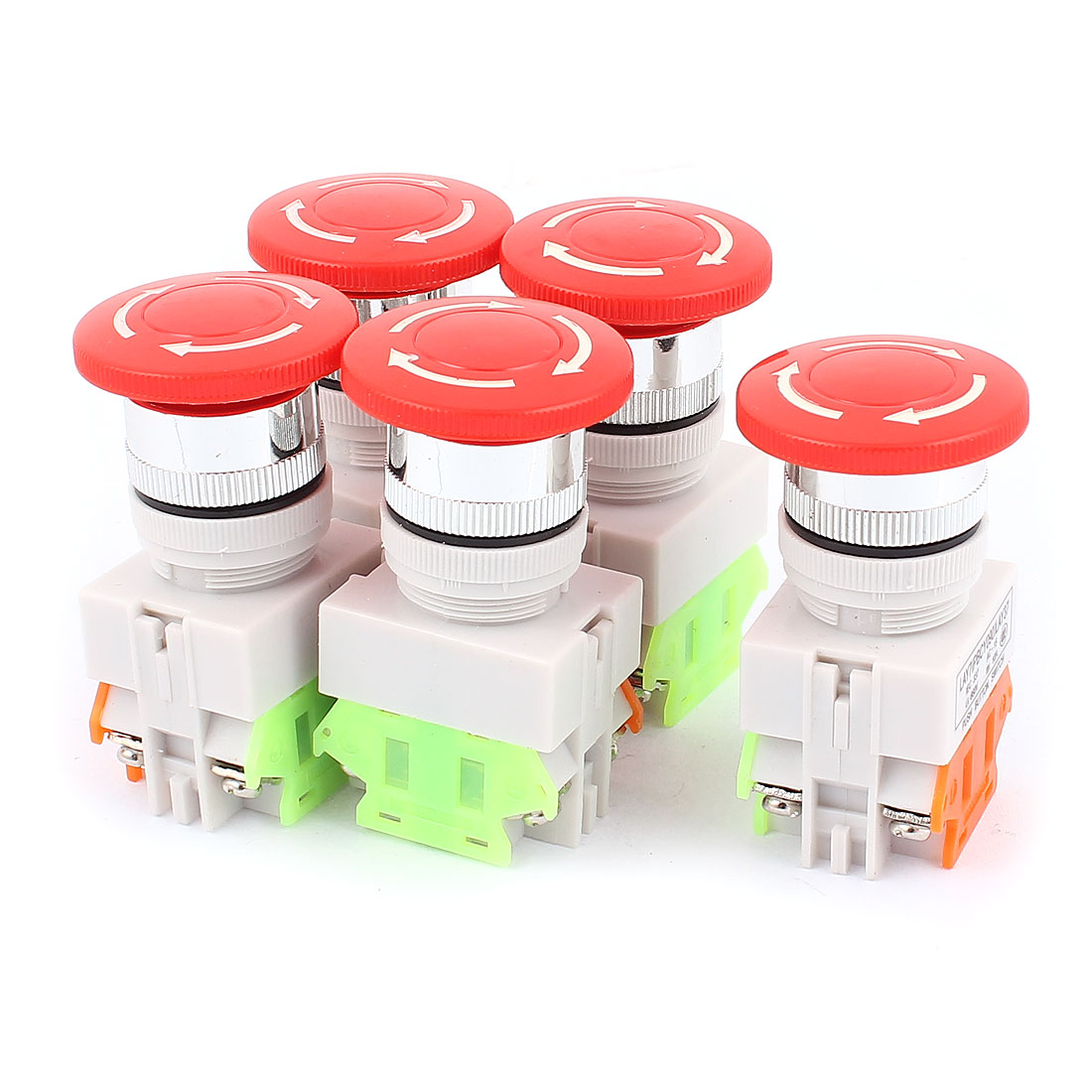 5PCS AC 600V 10A Self-locking Emergency Stop Red Mushroom Push Switch
