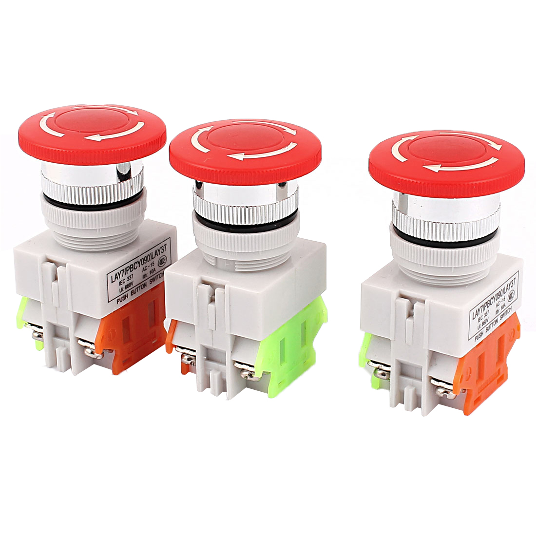 3PCS AC 600V 10A Self-locking Emergency Stop Red Mushroom Push Switch