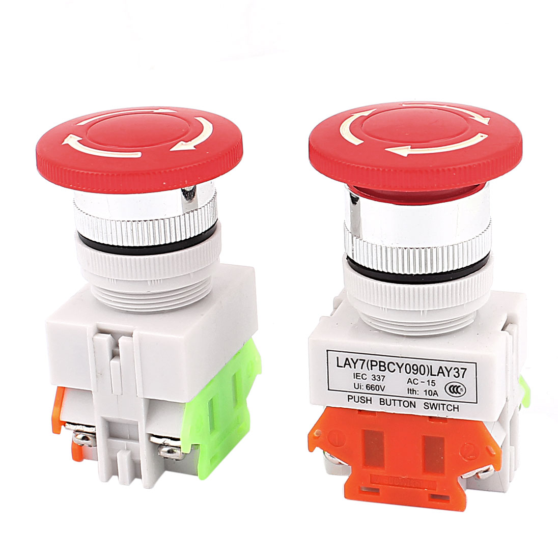 2pcs NO/NC 4 Screw Terminals Mushroom Emergency Stop Push Button Switch
