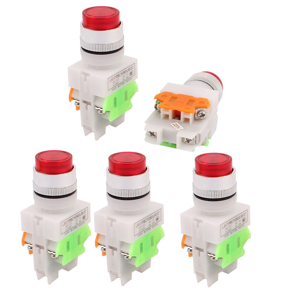 5PCS AC 660V 10A 1NO 1NC DPST 6-Pin Red Light Push Button Switch