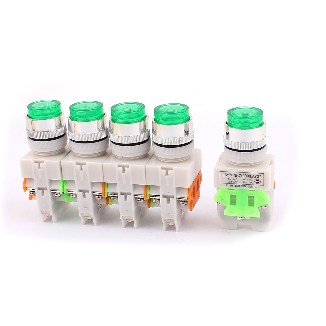 5PCS AC 660V 10A 1NO 1NC DPST 6-Pin Green Light Push Button Switch
