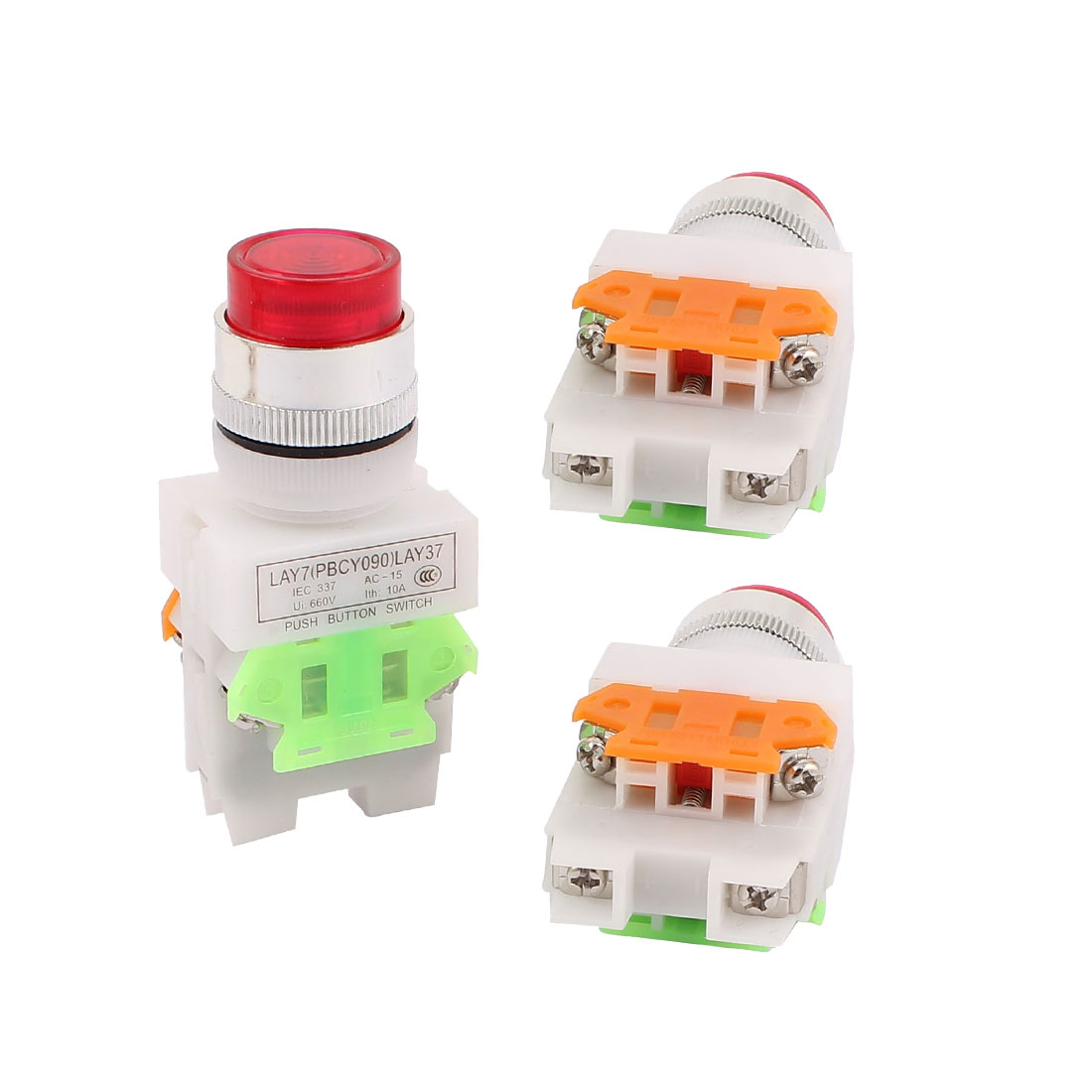 3PCS AC 660V 10A 1NO 1NC DPST 6 Pins Red Light Push Button Switch