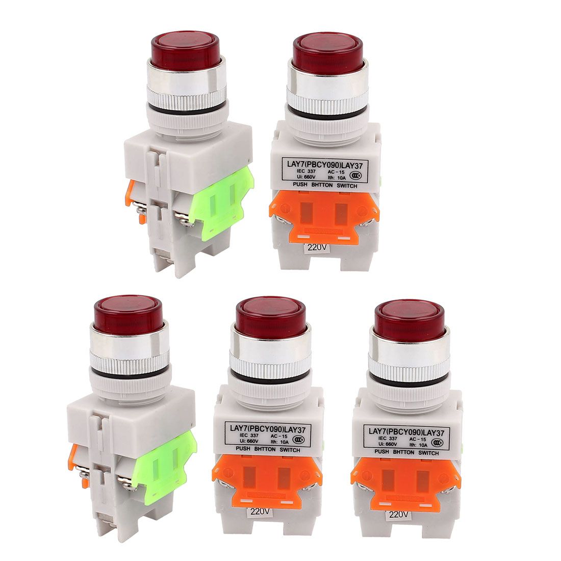 5PCS AC 660V 10A 1NO 1NC DPST 6 Terminal Red Light Push Button Switch