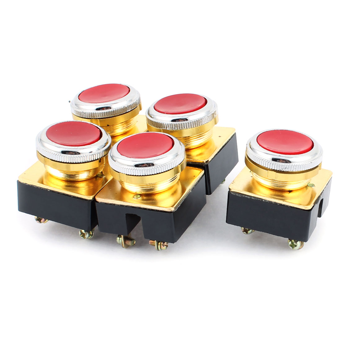 AC 380V DPST 4-Pin Momentary Red Button Pushbutton Switch 5PCS