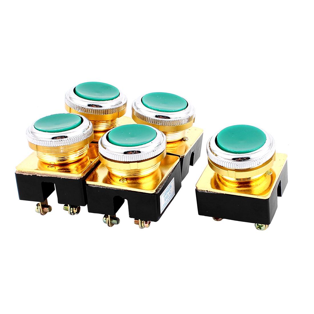 AC 380V DPST 4-Pin Momentary Green Button Pushbutton Switch 5PCS
