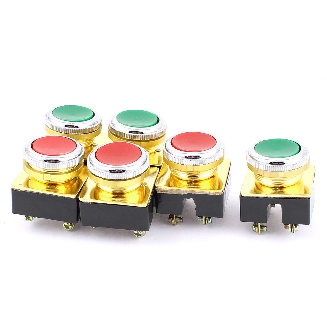 AC 380V DPST 4-Pin Momentary Red Green Button Pushbutton Switch 6PCS