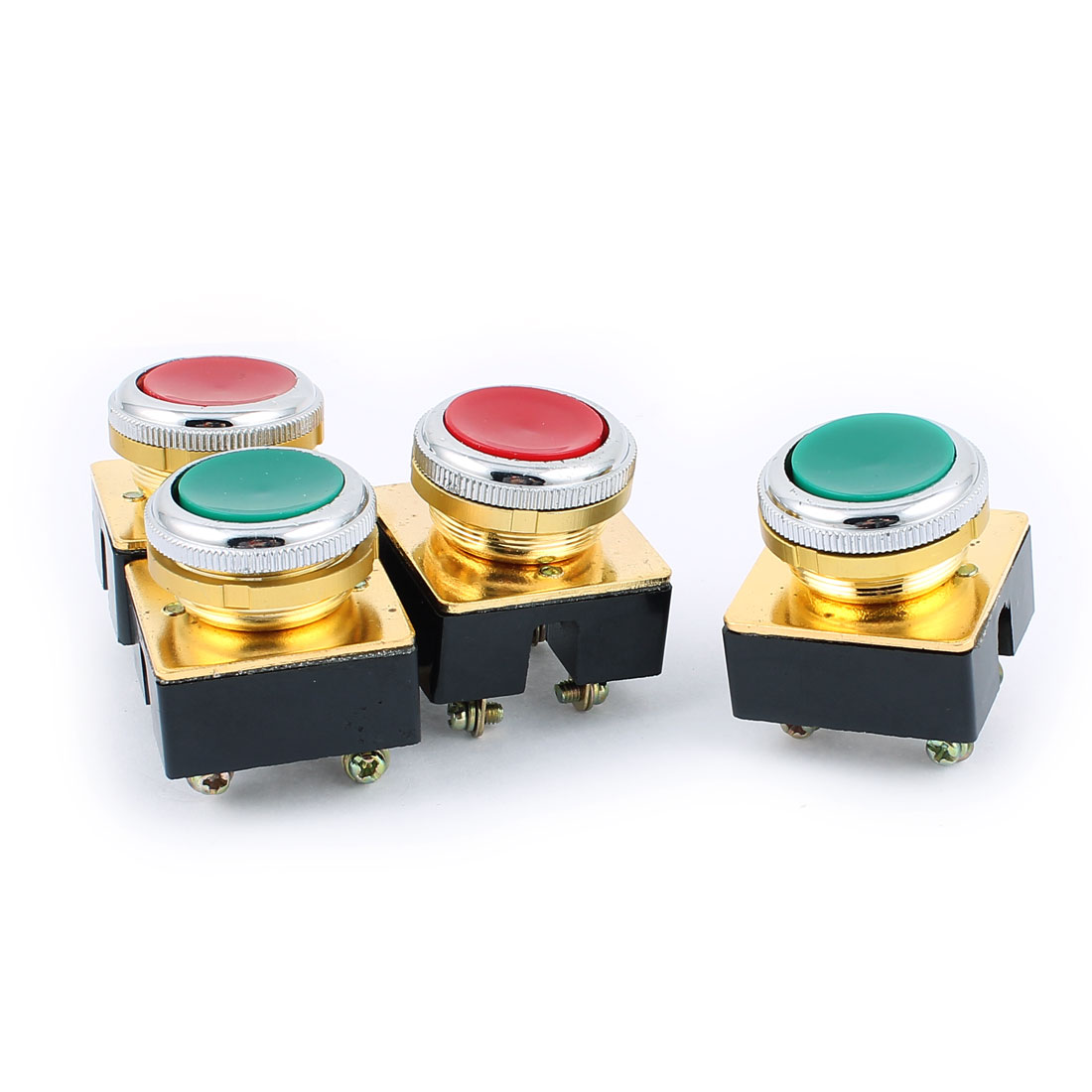 AC 380V DPST 4-Pin Momentary Red Button Pushbutton Switch 4PCS