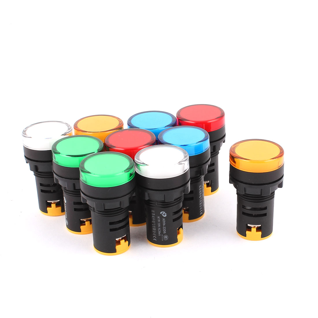 10 Pcs AC/DC 220V Colorful LED Pilot Signal Indicator Light