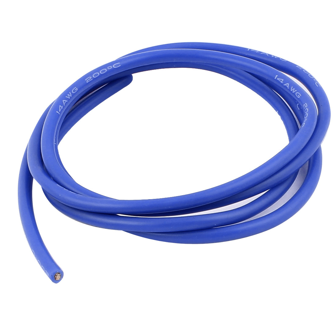 1M 14AWG Electric Copper Core Flexible Silicone Wire Cable Blue