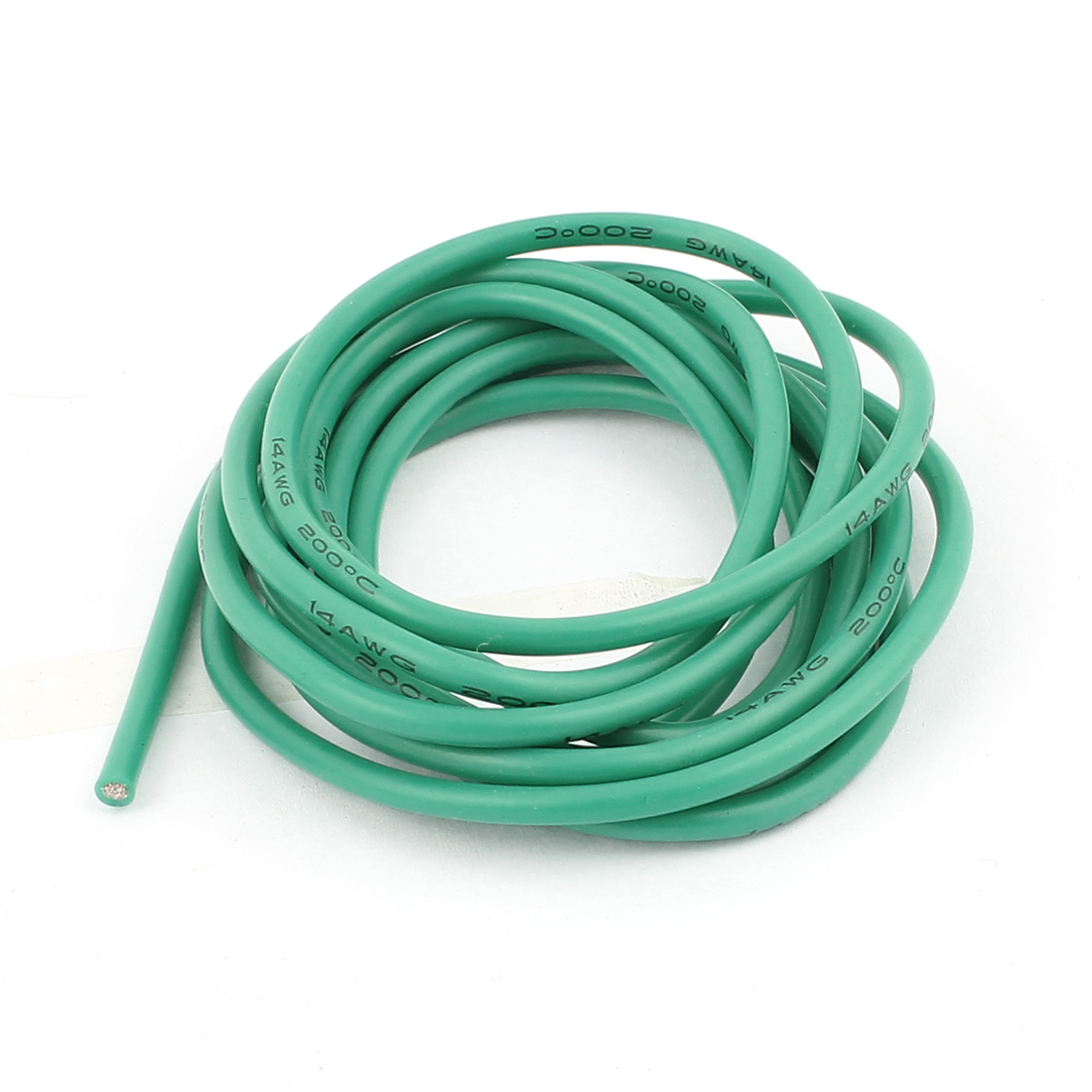 2M 14AWG Electric Copper Core Flexible Silicone Wire Cable Green