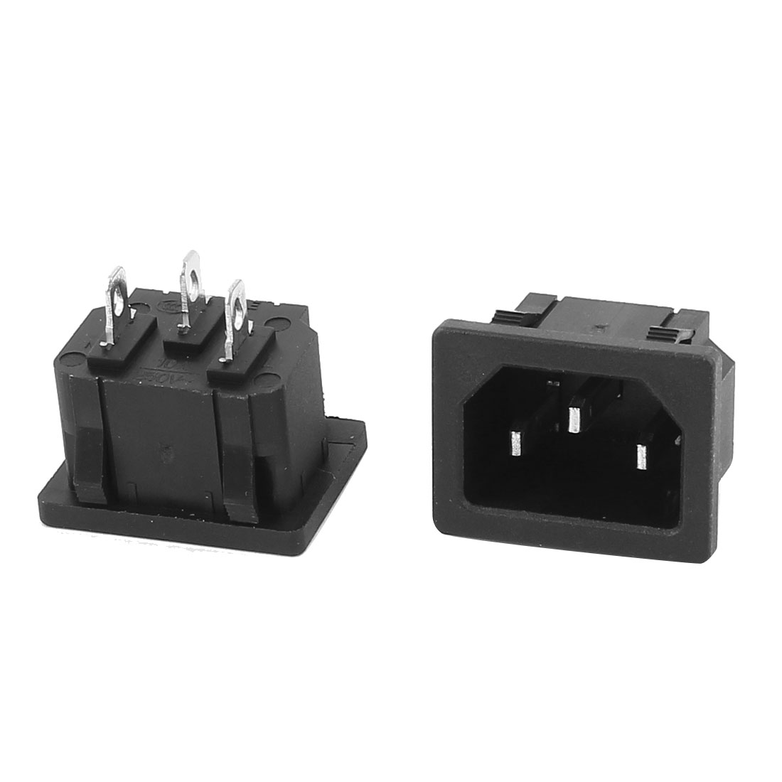 2Pcs Panel Mounted IEC320 C14 Inlet 3-Pin Socket Connector AC 250V 10A