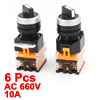 6PCS AC 660V 10A NO/NC 4-Pin DPST 2 Position Rotary Selector Switch
