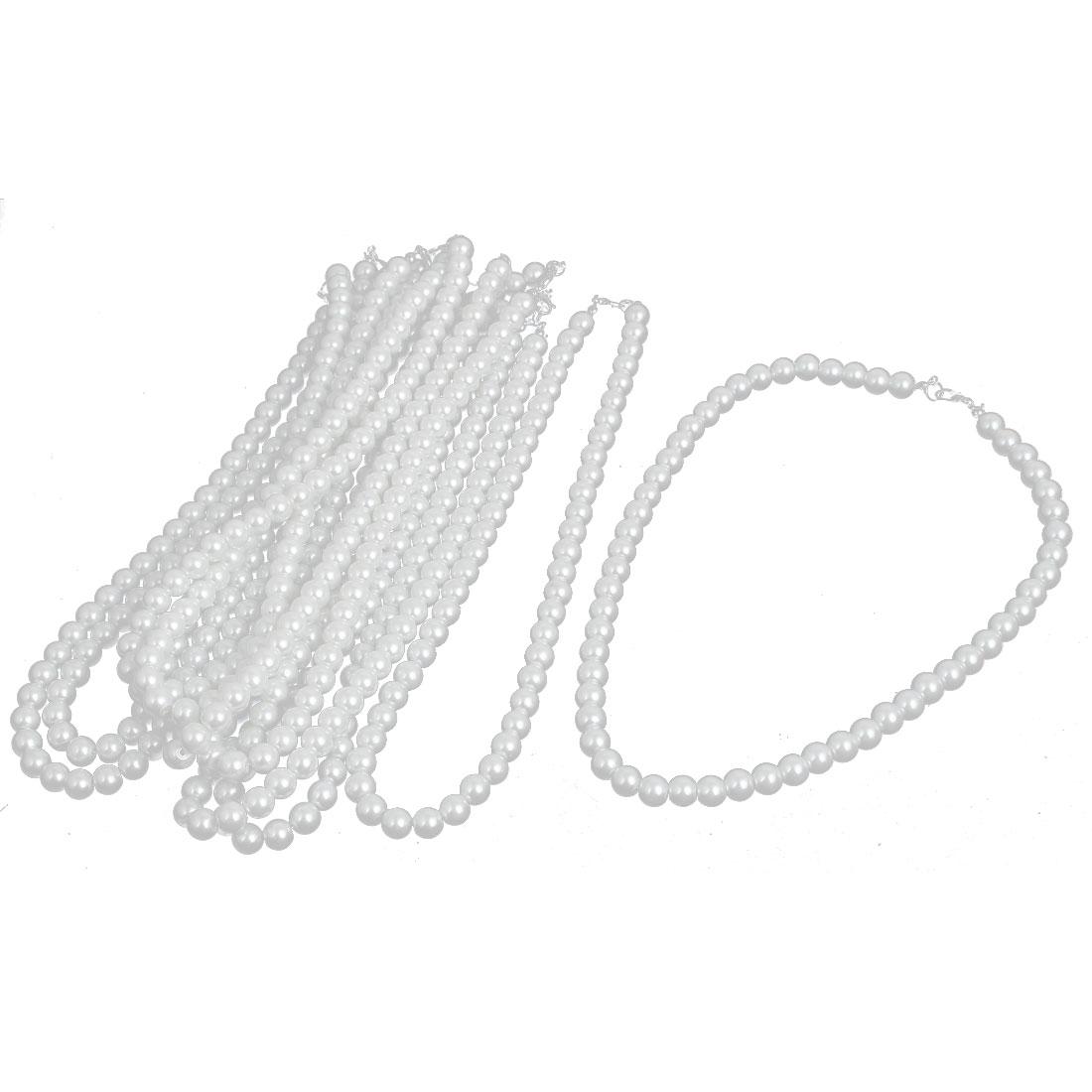Wedding Faux Round Imitation Pearl Beaded Linked Necklace 42cm Length White 10pcs