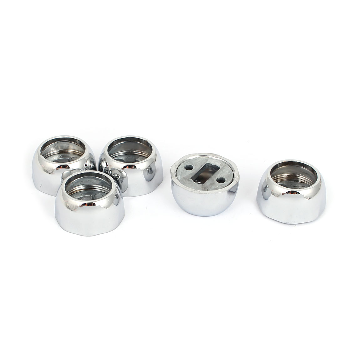 22mm Dia Closet Rod Flange Octagonal Socket Holder Bracket Silver Tone 5pcs