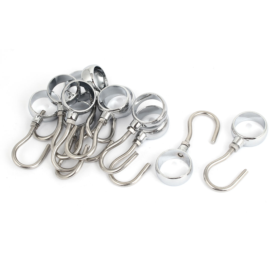 20pcs Wardrobe Bathroom 25mm Diameter Clothes Hanging Tube Rod Hooks Hangers