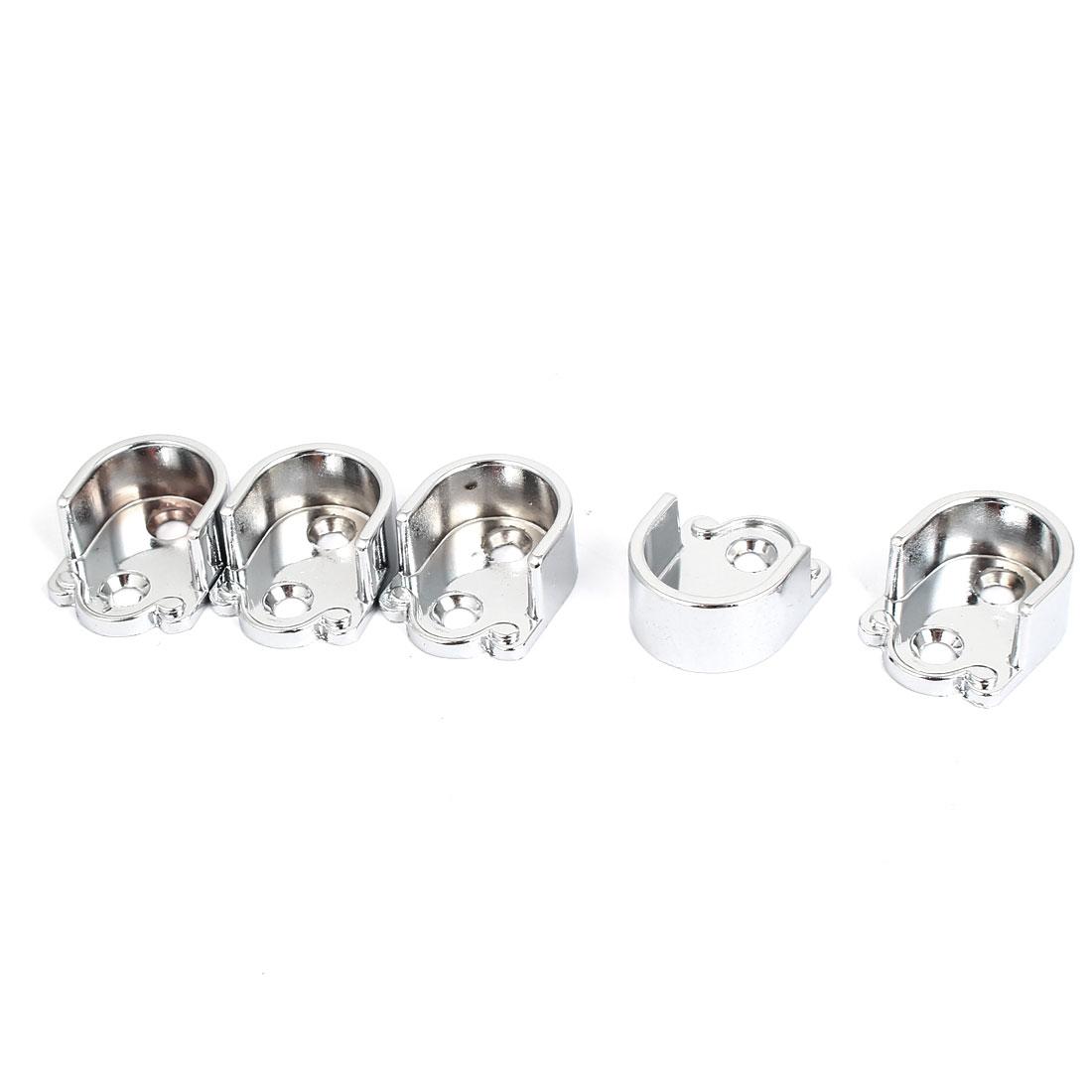 Metal 19mm Dia Clothes Closet Rod Flange Holder Bracket Silver Tone 5pcs