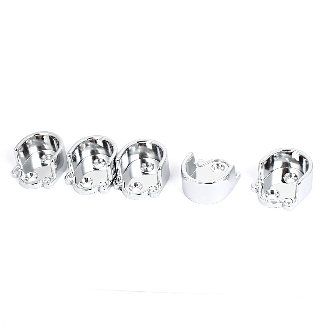 Metal 22mm Dia Clothes Closet Rod Flange Holder Bracket Silver Tone 5pcs