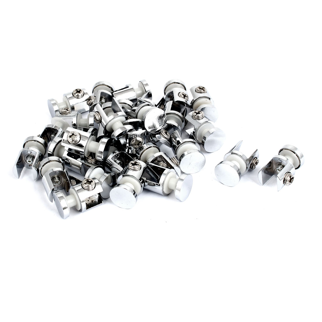 Adjustable 12mm Thickness Metal Glass Clamp Brackets Supports Silver Tone 30pcs