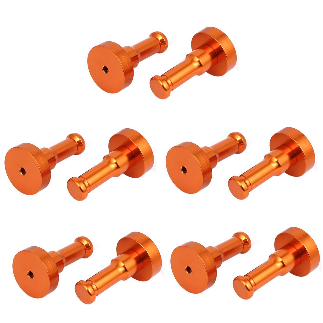 Bathroom Decorative Aluminium Hanger Clothes Holder Round Robe Hook Orange 10pcs