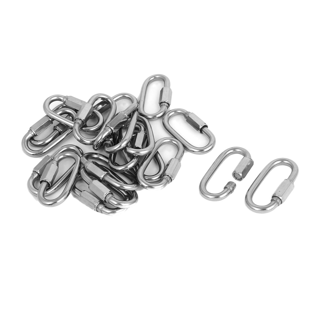 20pcs M6 Stainless Steel Hook Quick Link Chain Rope Cable Connector Silver Tone