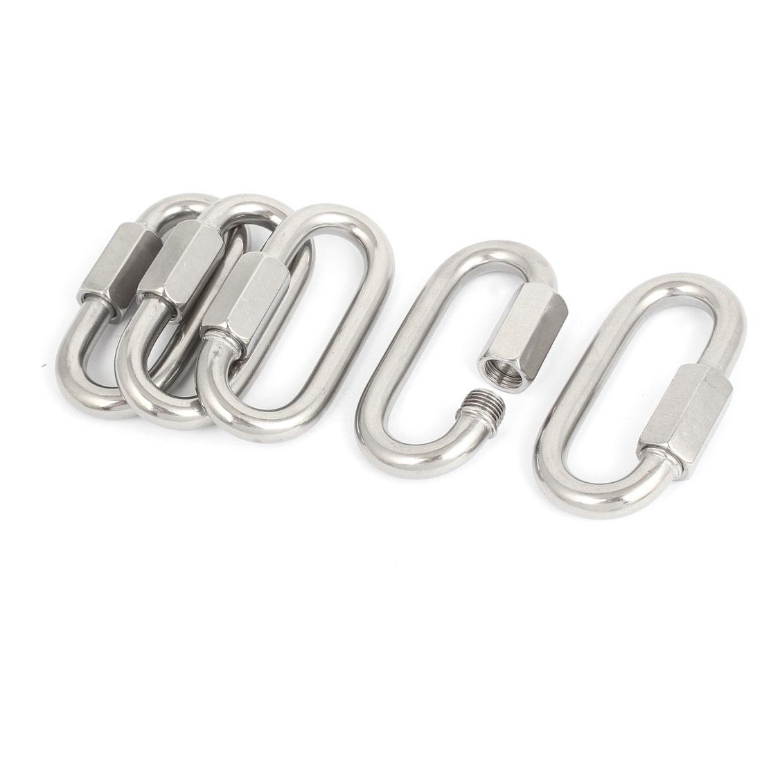 M12 Multifunctional Oval Quick Screwlock Link Lock Carabiner Silver Tone 5pcs
