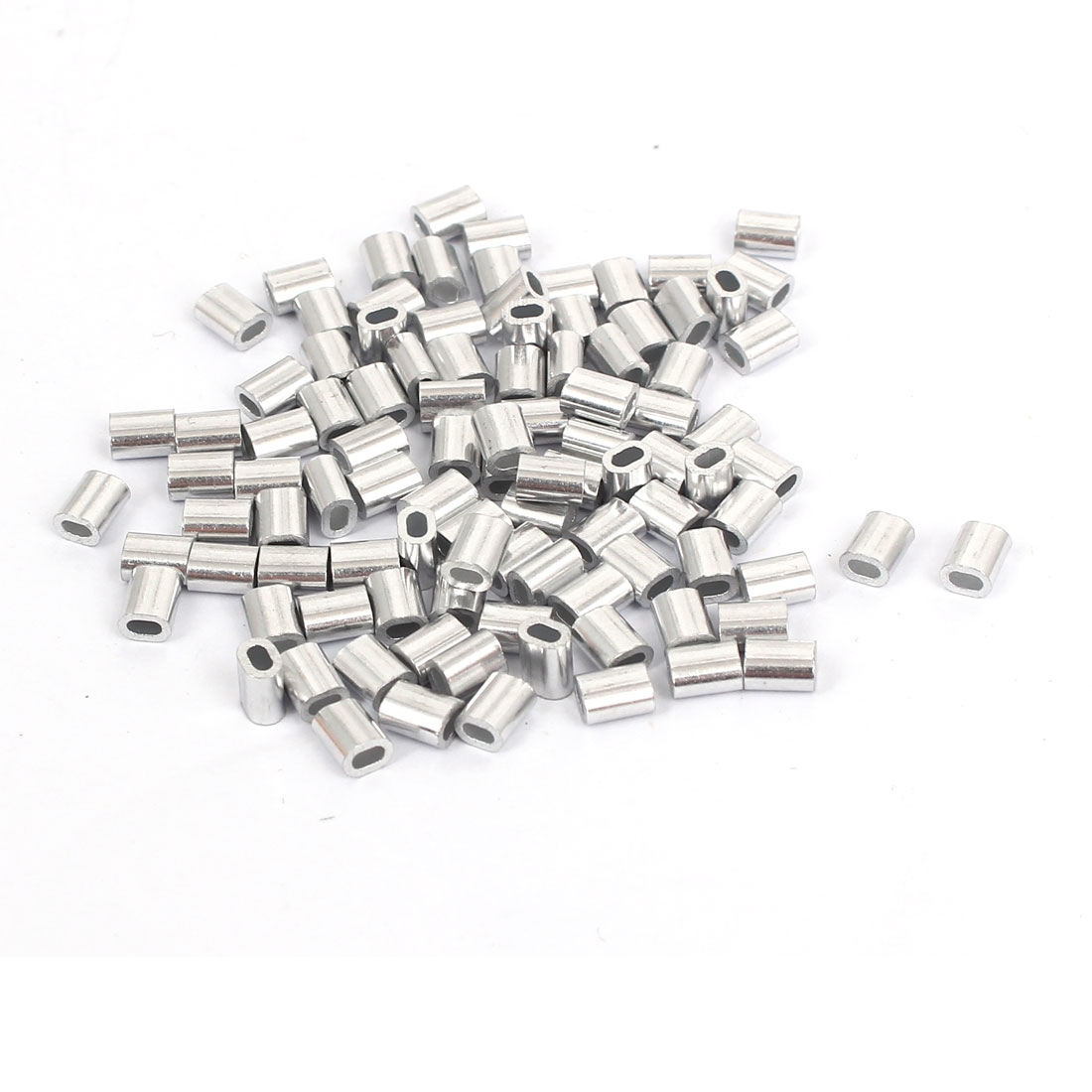 100pcs M1 Oval Aluminum Sleeves Clamps for 0.9MM-1MM Stianless Steel Wire Rope