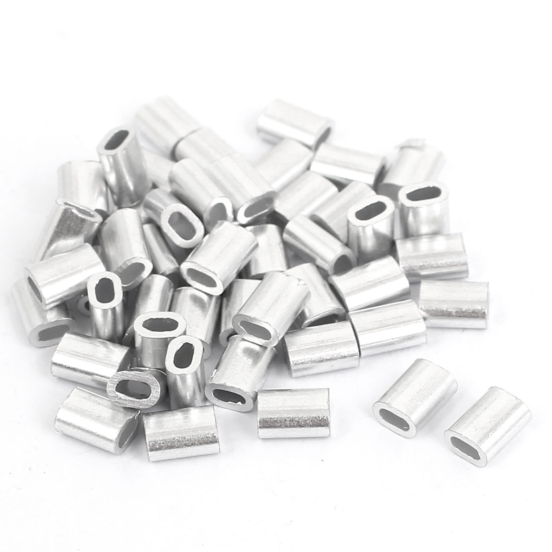 50pcs M1.2 Aluminium Wire Rope Stops and Ferrules Silver Tone
