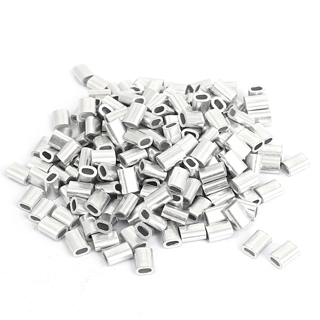 M1.2 Aluminium Wire Rope Sleeves Loop Crimping Ferrules Silver Tone 200pcs