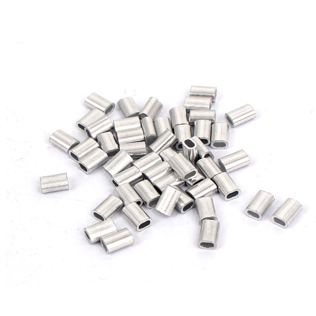50pcs M1.5 Oval Aluminum Sleeves Clamps for Stianless Steel Wire Rope
