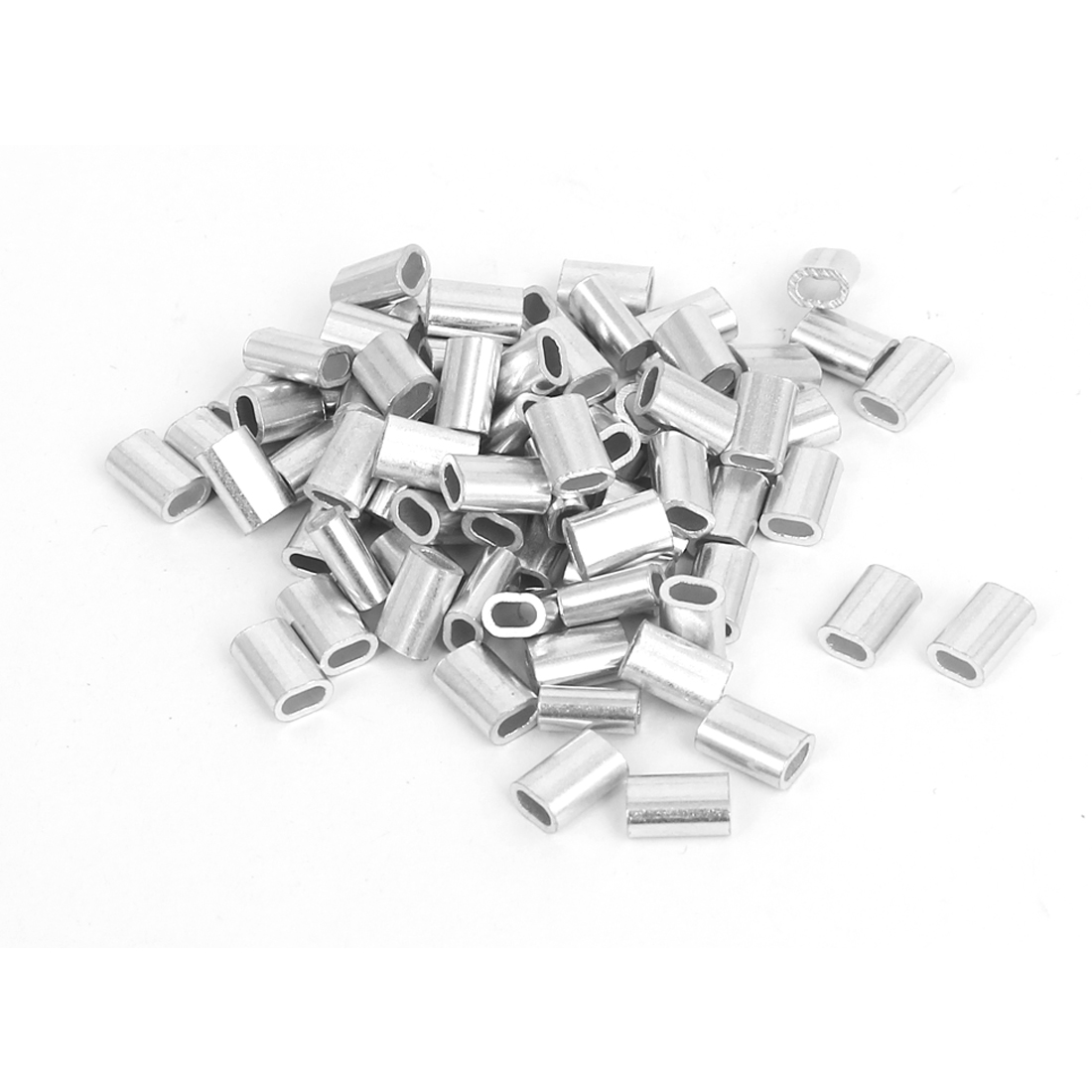 80pcs M1.5 Oval Aluminum Clip Ferrule Sleeves for 1.5mm Wire Rope