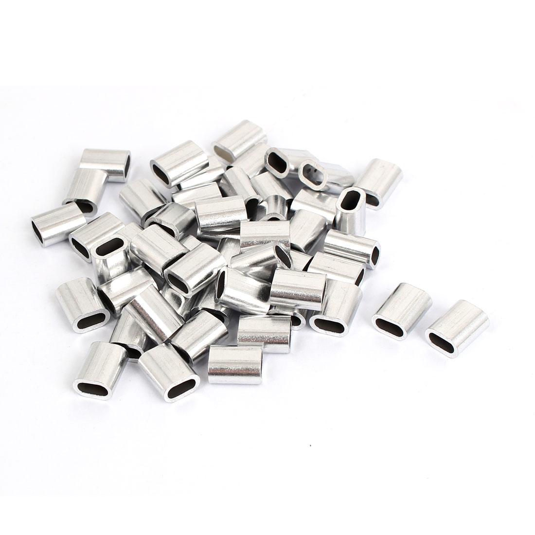 50 Pcs M3 Aluminium Ferrule Cable Crimps Sleeves Silver Tone