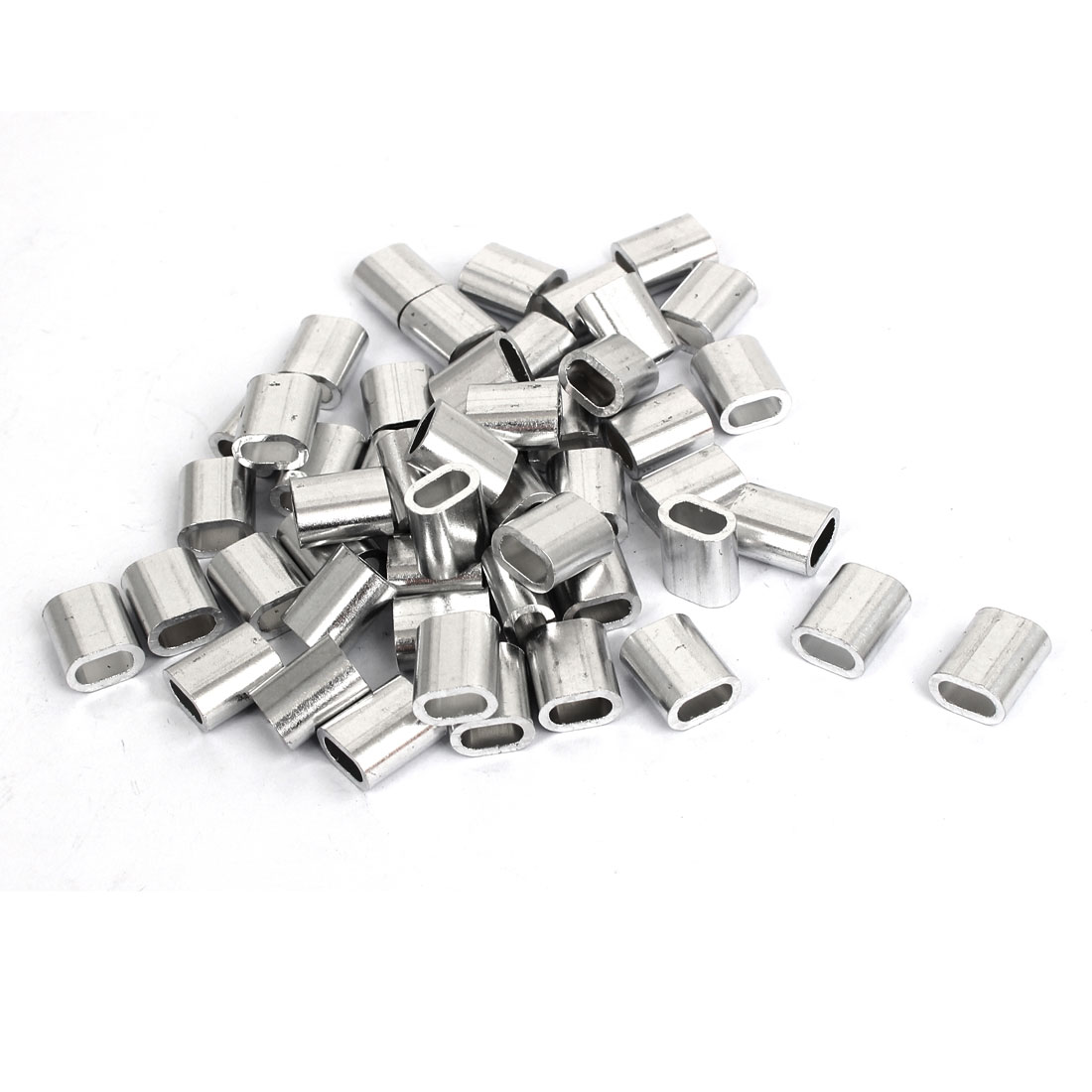 50pcs M4 Oval Aluminum Sleeves Clamps for 4mm Wire Rope Swage Clip