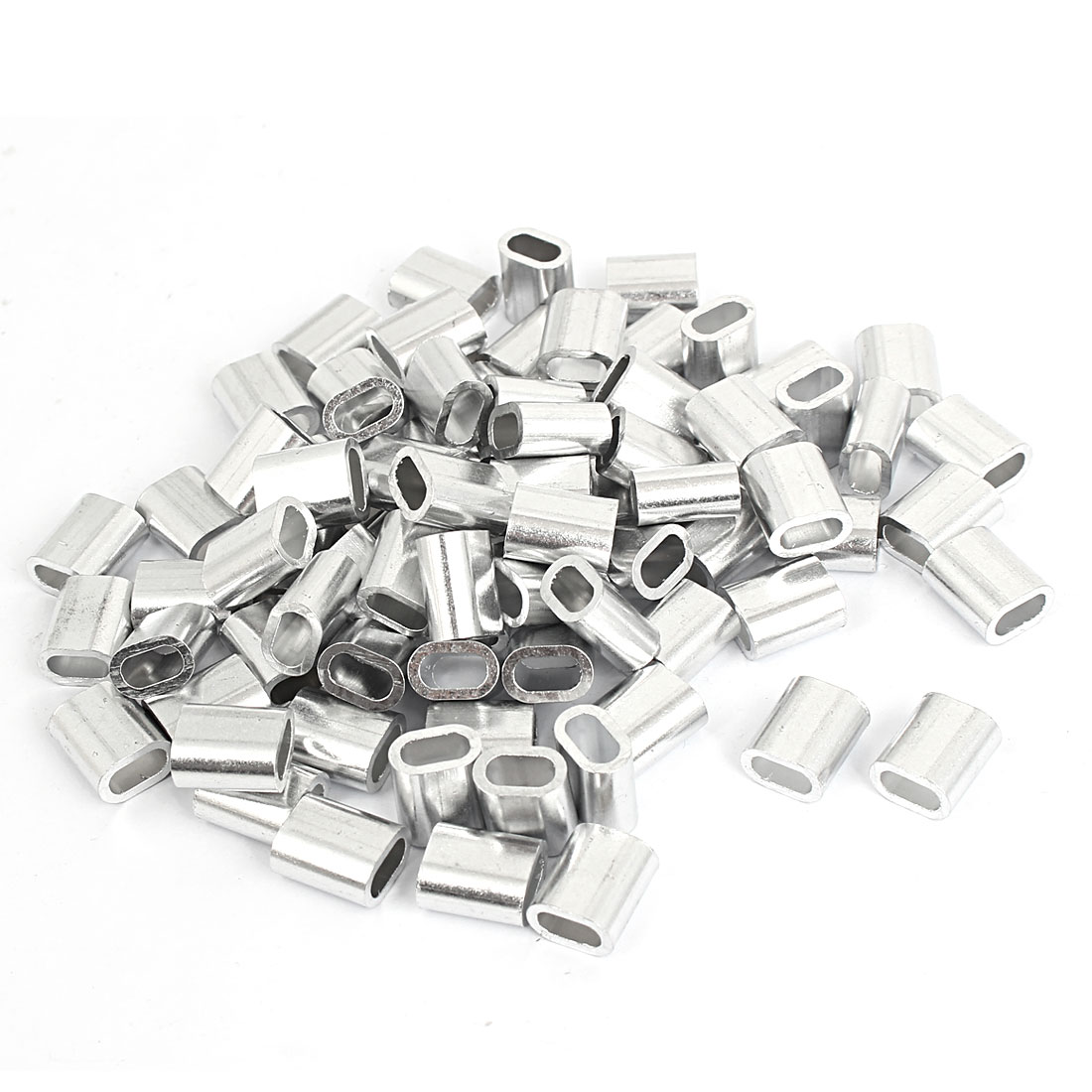 80pcs M4 Oval Aluminum Sleeves Clamps for 4mm Wire Rope Swage Clip