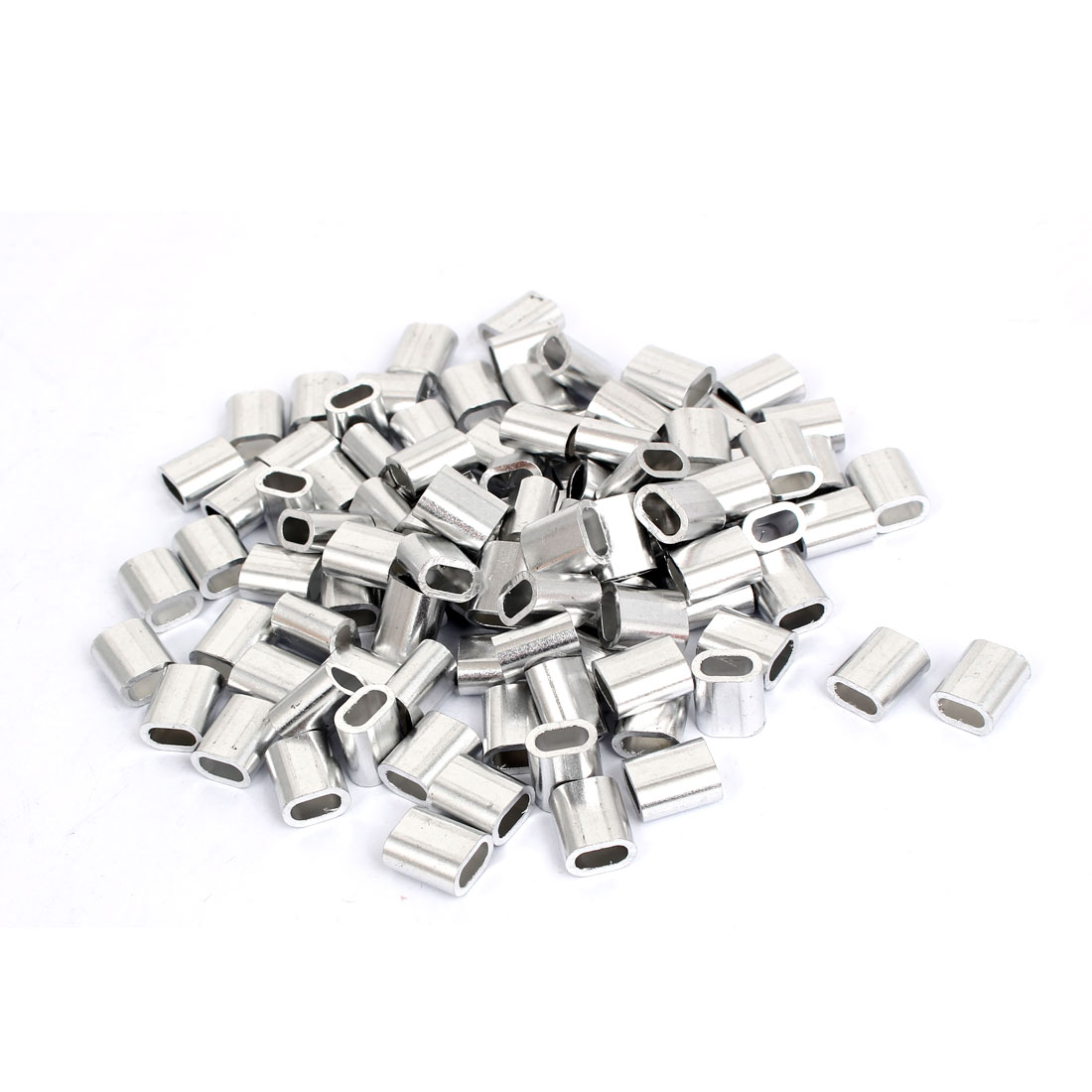 100pcs M4 Oval Aluminum Sleeves Clamps for 4mm Wire Rope Swage Clip