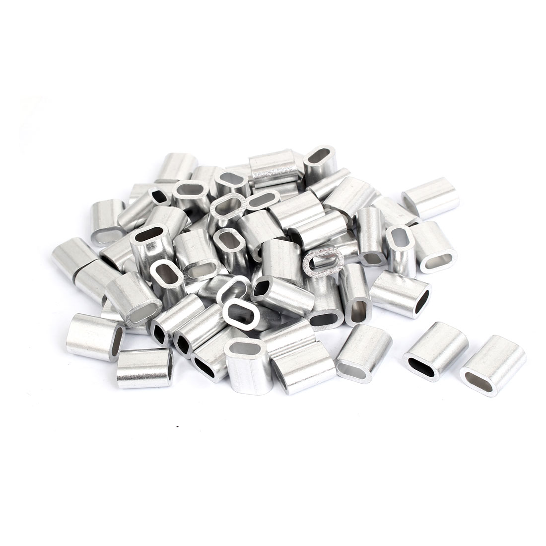 M5 5mm Steel Wire Rope Aluminum Ferrules Sleeves Silver Tone 80 Pcs