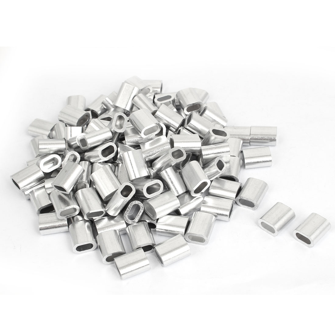 200 Pcs M5 Aluminium Ferrule Cable Crimps Sleeves Silver Tone