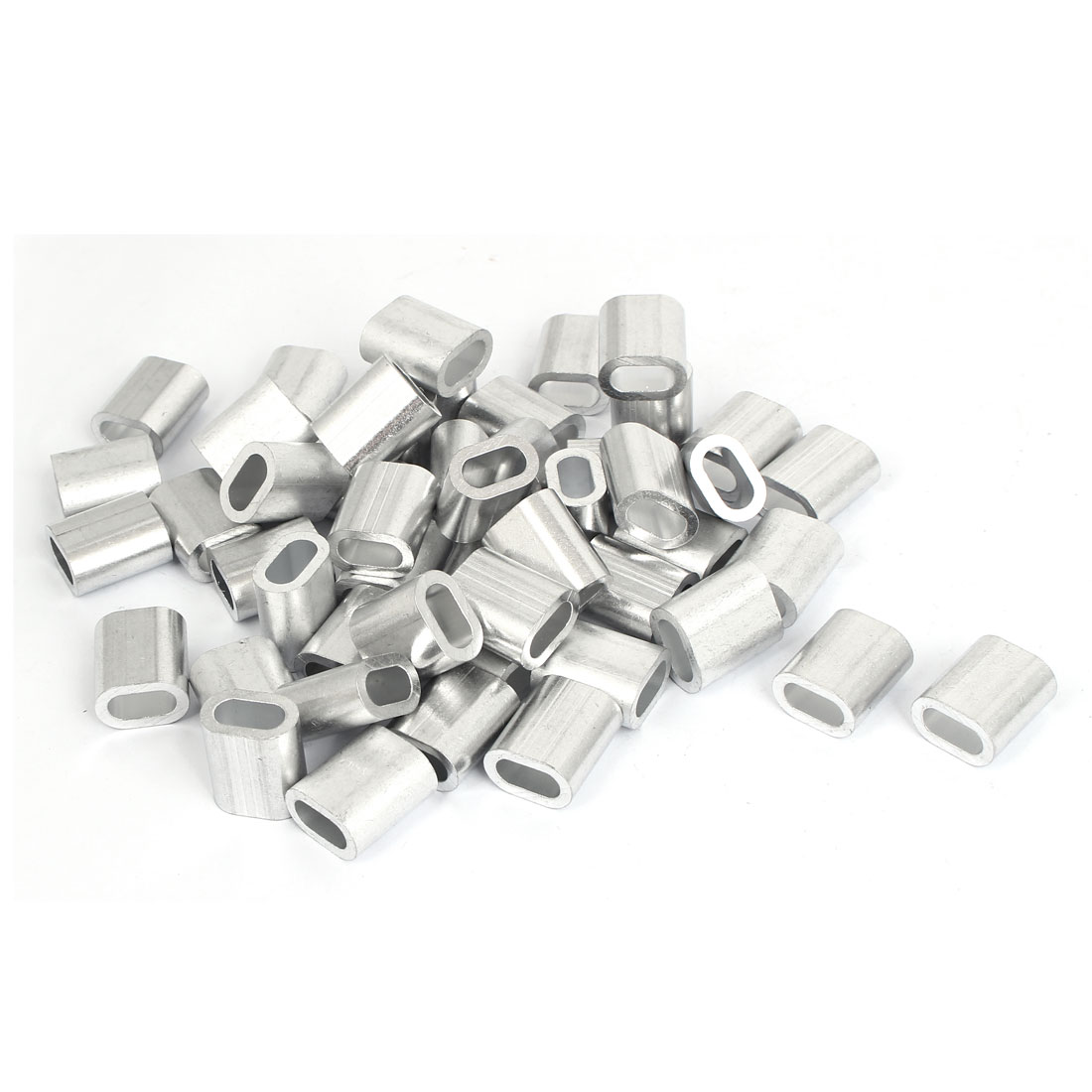 50 Pcs M6 Aluminium Ferrule Cable Crimps Sleeves Silver Tone