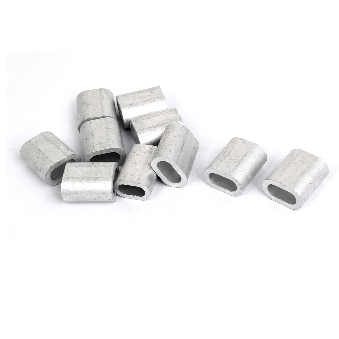 "8mm 5/16"" Steel Wire Rope Aluminum Ferrules Sleeves Silver Tone 10pcs"