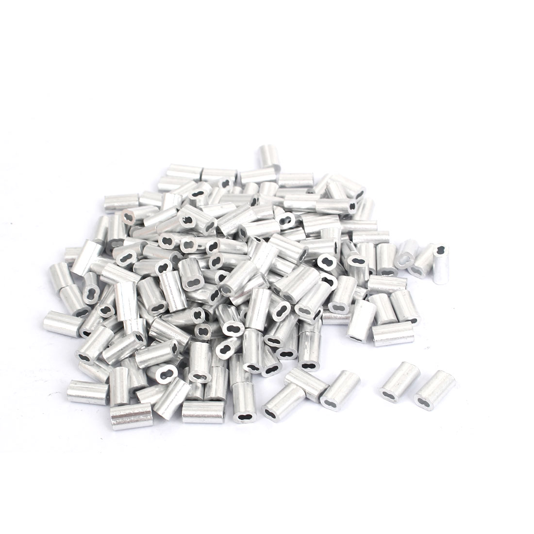 200pcs M1.2 Aluminium Wire Rope Stops and Ferrules Silver Tone