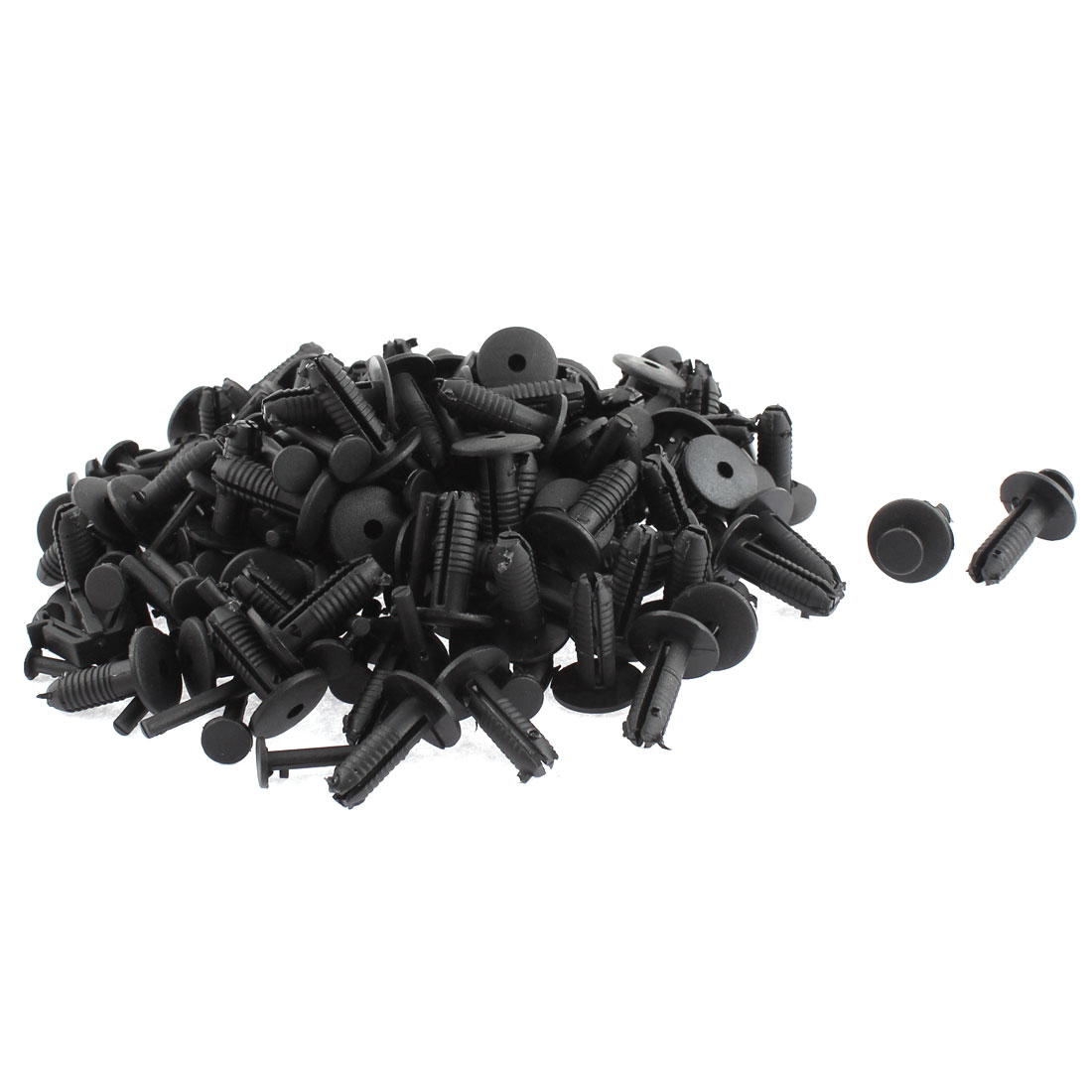 Car Bumper Fender 7mm Hole Black Plastic Rivets Fasteners Push Retainer Moulding Clips 100pcs