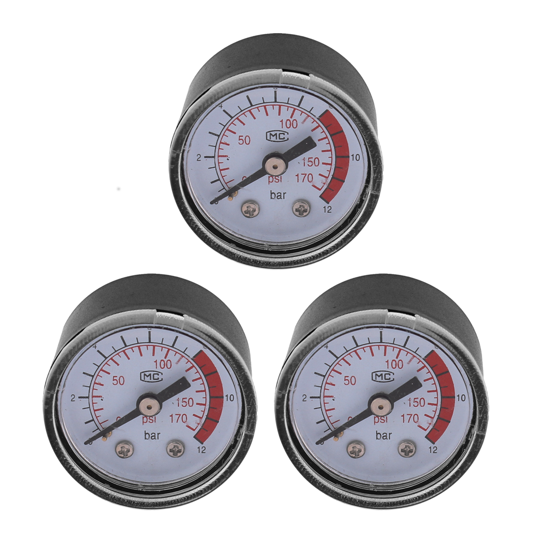 Air Compressor 1/8BSP 10mm Male Thread Round Dial Pressure Compressor Gauge 0-12Bar 0-170 Psi 3 Pcs