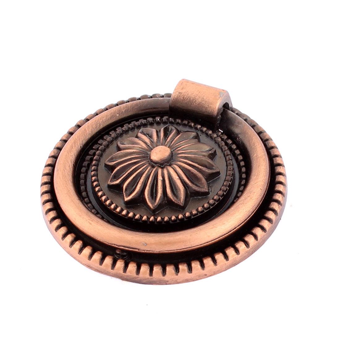 Flower Round Head Design Dresser Cupboard Door Pull Ring Handle Round Knob Bronze Tone w Screw