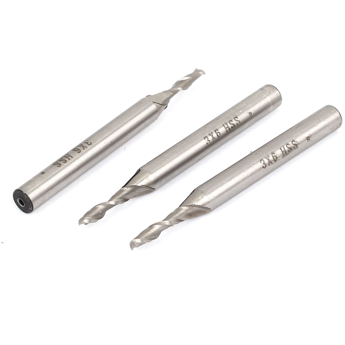 3mm Cutting Dia 6mm Straight Shank 2 Flute HSS End Mill Cutter CNC Bit 3Pcs